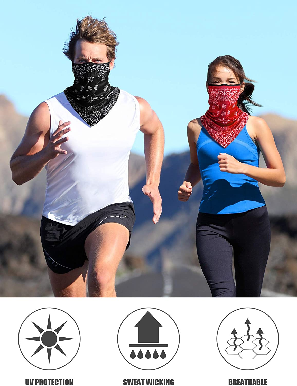 Paisley Face Cover Ear Loops UV Protection Neck Gaiter Scarf Breathable Bandana for Women Men
