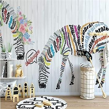 BIZHIGE Custom 3D Wallpaper Modern Nordic Cartoon Zebra Mural De Pared Kid Room Bar Dormitorio Fondo