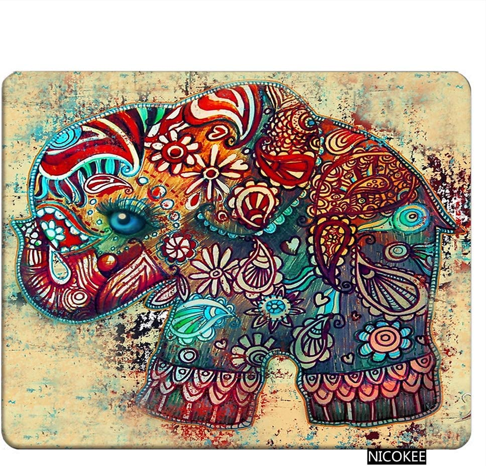 NICOKEE Elephant Rectangle Gaming Mousepad Elephant Ethnic Tribal Brown Boho Bohemian Celestial Mouse Pad Mouse Mat for Computer Desk Laptop Office 9.5 X 7.9 Inch Non-Slip Rubber