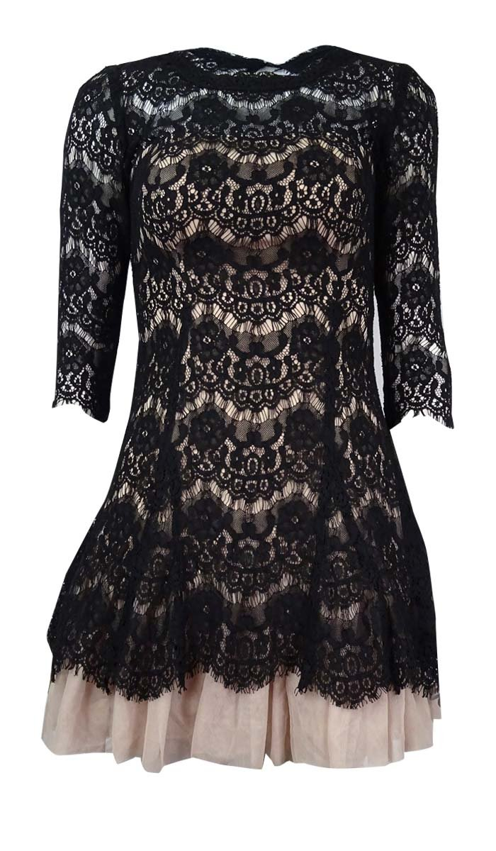 Betsy & Adam Women's Petite Lace Tulle Mini Dress (8P, Black/Nude)