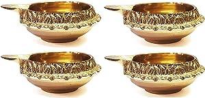 Craftsman Handmade Golden Engraved Kuber Brass Diwali Diya. Traditional Indian Pooja Puja Oil Lamp. Deepawali Decoration Gift Items. (4PC Set)