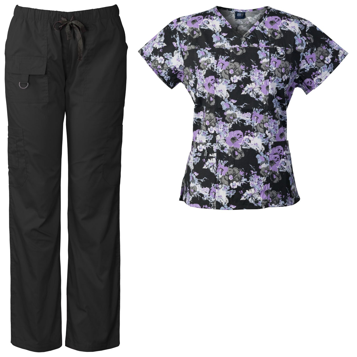 429dee148ef Medgear Women's Scrubs set, printed top and matching utility style scrubs  pants. It includes a printed scrub top that feature a V-neck, 2 bottom  pockets, ...