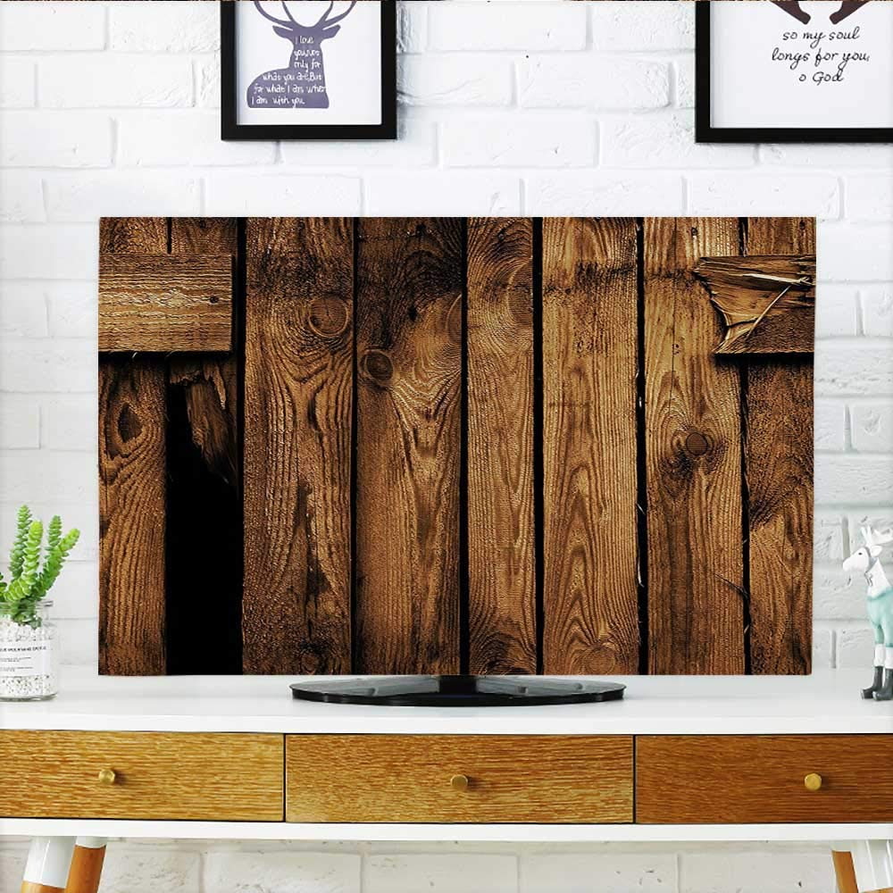 Auraisehome TV dust Cover Decor Vertical Striped Old Timber Backdrop in Dirt with Hole Ruins Abandoned Village TV dust Cover W30 x H50 INCH/TV 52''