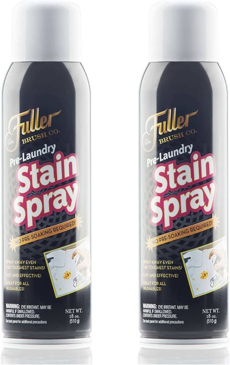 Fuller Brush Pre-Laundry Stain Spray- Dissolves The Toughest Stains – No Pre-Soaking Required - 18 oz. - 2 Pack