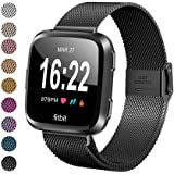 MEFEO Compatible with Fitbit Versa Bands, Stainless Steel Metal Band Mesh Bracelet with Strong Magnet Lock Wristbands Replacement for Fitbit Versa/Versa 2/Versa Lite/SE