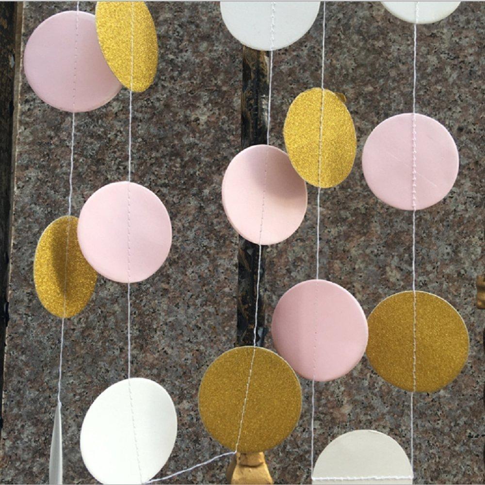 glitter paper garland circle dots hanging decor for christmas wedding bridal showers birthday party baby shower 2 pack gold glitterpinkwhite winko