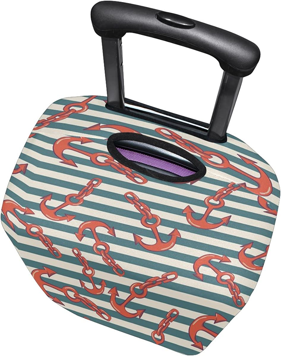 LAVOVO Red Anchor On Stripes Luggage Cover Suitcase Protector Carry On Covers