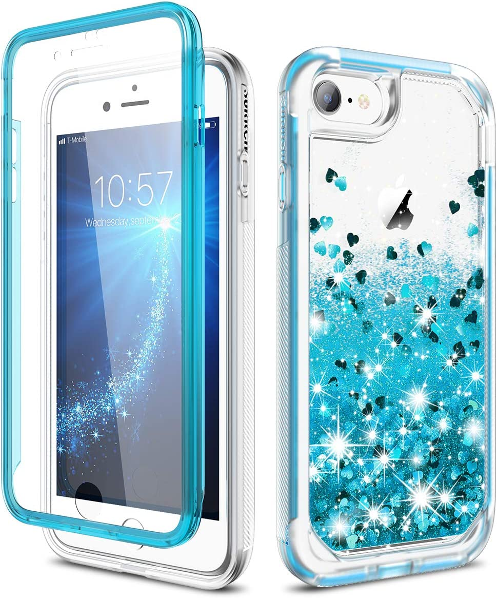 SURITCH Case for iPhone se 2020/iPhone 7/8, [Built-in Screen Protector] Quicksand Liquid Glitter Full-Body Protection Rugged Bumper Cover for iPhone se 2020/8/7 4.7 Inch(Blue)
