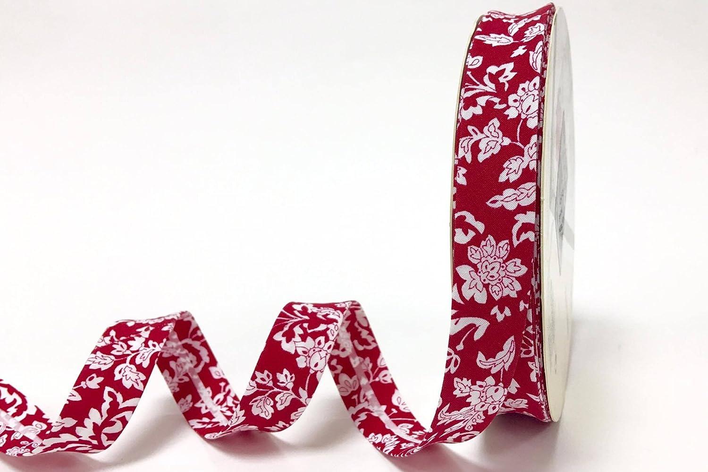 NB es un corte de un rollo Nuevo dise/ño Fany 18 mm flores rojas y blancas de algod/ón de polarizaci/ón de la uni/ón por el metro
