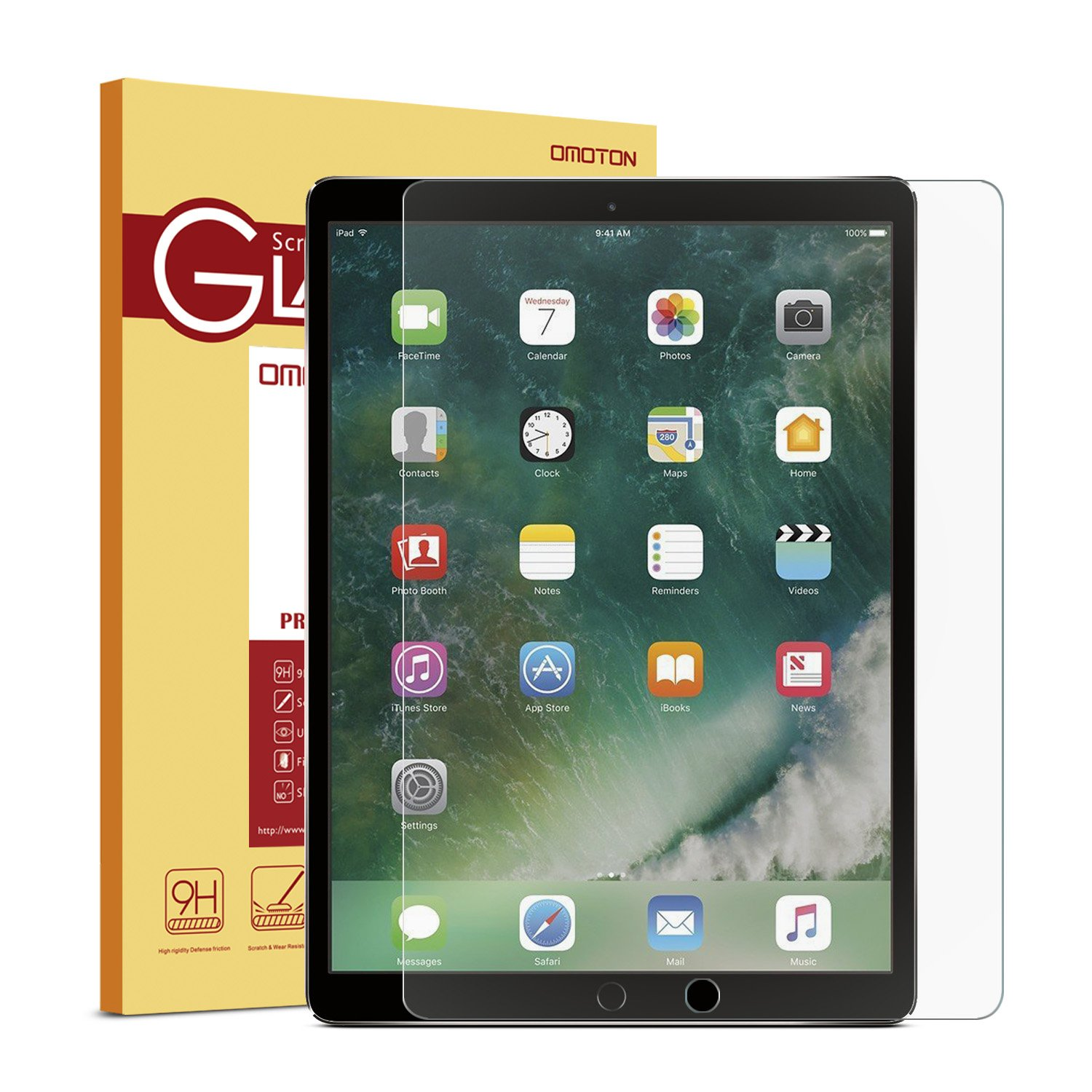 OMOTON New iPad Pro 12.9 Screen Protector, Tempered Glass Screen Protector with [High Responsivity] [High Definiton] [Bubble Free] for Apple iPad Pro 12.9 inch (2017 and 2015 version)