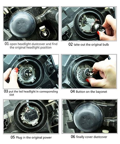 koomtoom Auto LED Cabeza Bombillas Faros delanteros para Kit de conversión, 10000LM 50 W 6500 K - 2 unidades: Amazon.es: Coche y moto