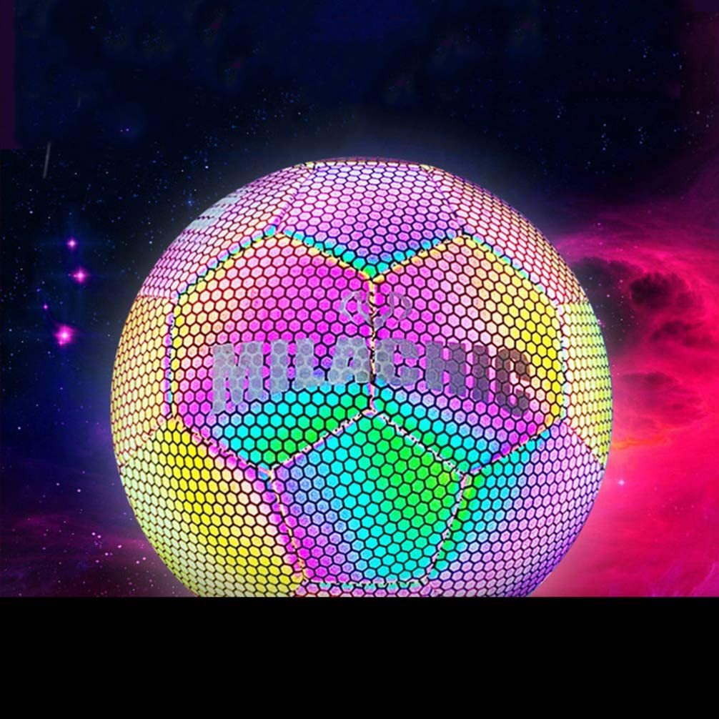 ershixiong Luminous Football PU Holographic Glowing Reflective Light Up Night Soccer Ball Game Lamp Toy For Children Training Playing
