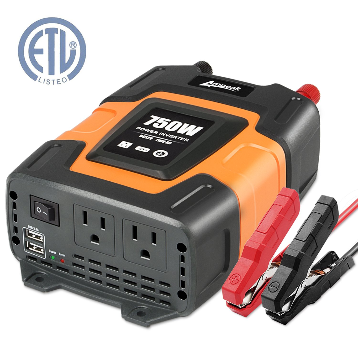 Ampeak 750W Power Inverter DC 12V to 110V AC Converter with 3.1A Dual USB Inverter