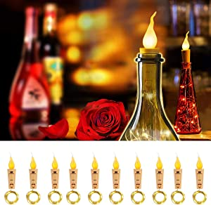 SUPERNIGHT Wine Bottle Lights with Cork - 10 Packs Warm White Battery Operated 6.6ft 20 LED String Lights with Candle Flame Starry Fairy Lights for Party,Christmas,Halloween,Wedding,Indoor Decoration