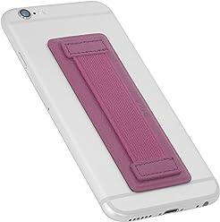StilGut - Supporto dita per Smartphone in vera pelle con elastico, grande, Fucsia