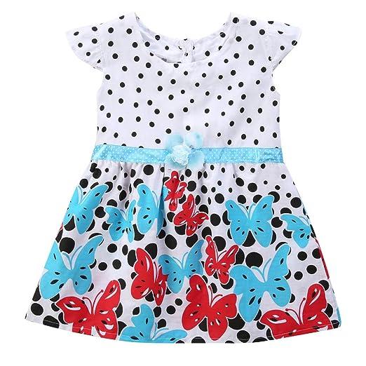 3be3fa04a12b Weixinbuy Baby Girl s Cotton Polka Dots Short Sleeve Tutu Dress (2Year