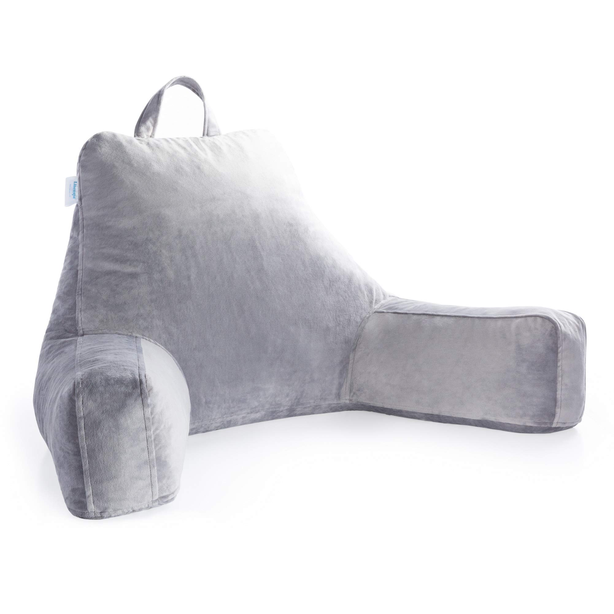 Linenspa Shredded Foam Reading Pillow - Extra Large Design for Adults - Perfect for Back Support While Relaxing, Gaming, Reading, or Watching TV - Soft Velour Cover (Renewed)