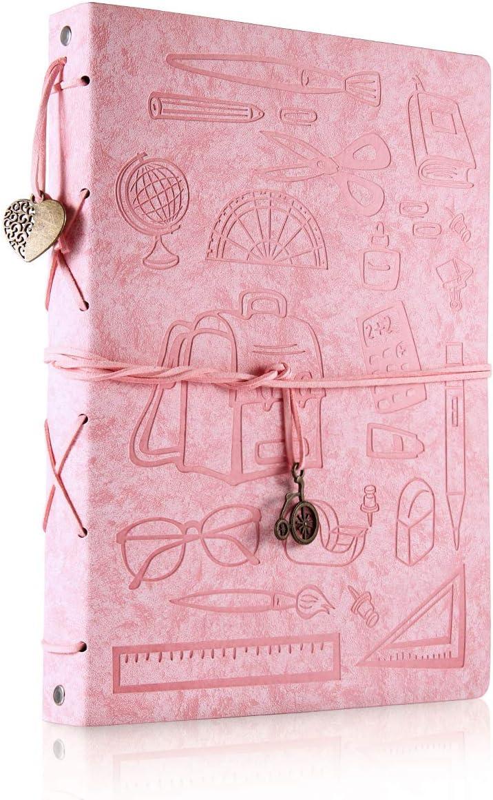 ThxMadam Scrapbook Cuero Álbum de Fotos Libro de Visitas de Boda con 60 Páginas Negras Presentes para Regalo de Valentín Día de Aniversario Navidad Cumpleaños para Esposa Hija Madre,Estudiante Grande