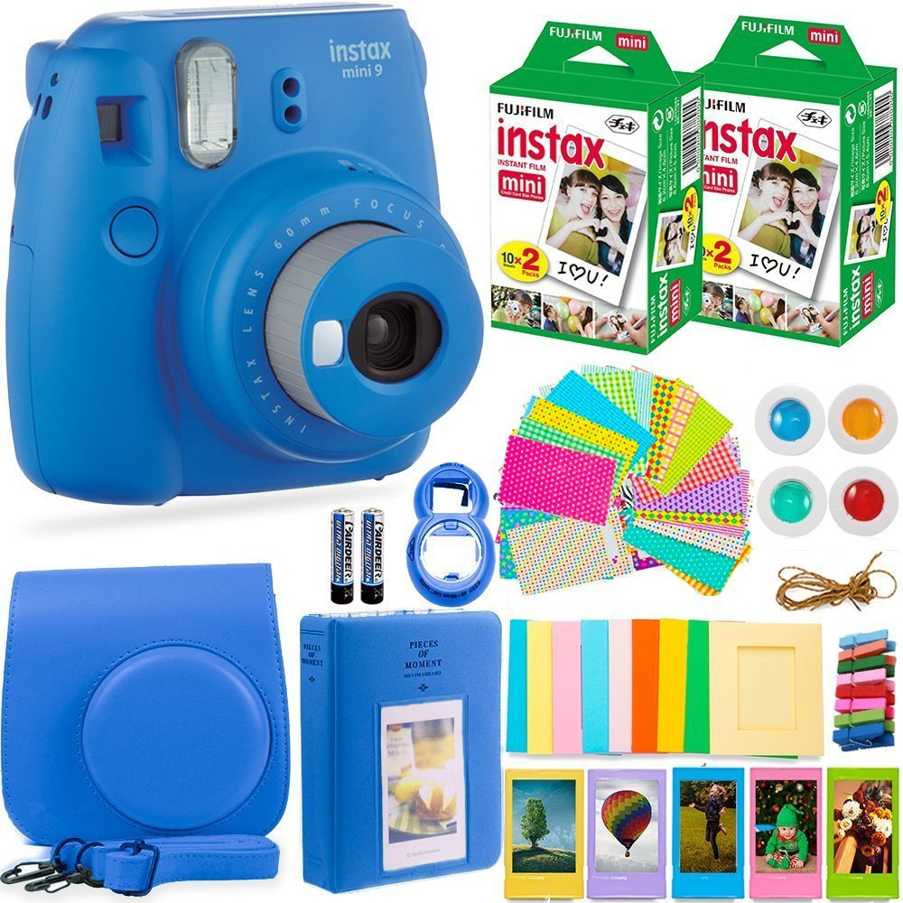 FujiFilm Instax Mini 9 Instant Camera + Fuji Instax Film (40 Sheets) + Accessories Bundle - Carrying Case, Color Filters, Photo Album, Stickers, Selfie Lens + MORE (Cobalt Blue) by Deals Number One