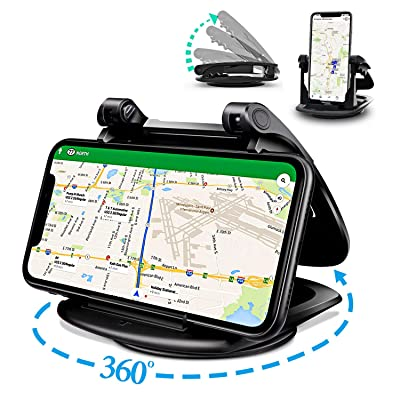 Swhatty Phone Holder for Car, Silicone Dashboard Car Phone Mount, Adjustable 360°Rotate Car Phone Holder, Desk Phone Stand Compatible with iPhone, Samsung, Android Smartphones, GPS Devices (Black): Electronics
