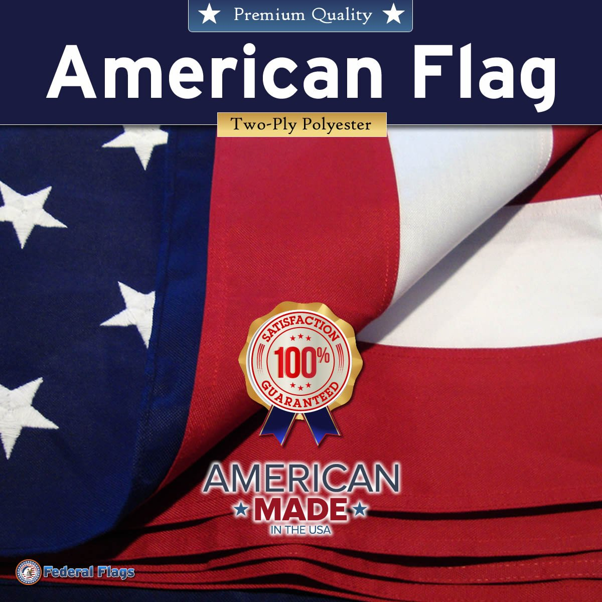 10x15ft Super-Duty American Flag / US Flag by Federal Flags - - 2-ply Heavy Outdoor Polyester - Fully Sewn Stripes, Embroidered Stars - Built For The Toughest Conditions - Made in the USA