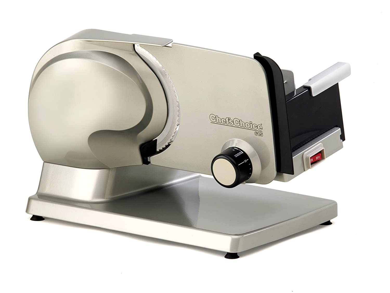 "Chef'sChoice 615A Electric Meat Slicer Features Precision Thickness Control and Tilted Food Carriage for Fast and Efficient Slicing with Removable Blade for Easy Clean 7"" Stainless Steel"