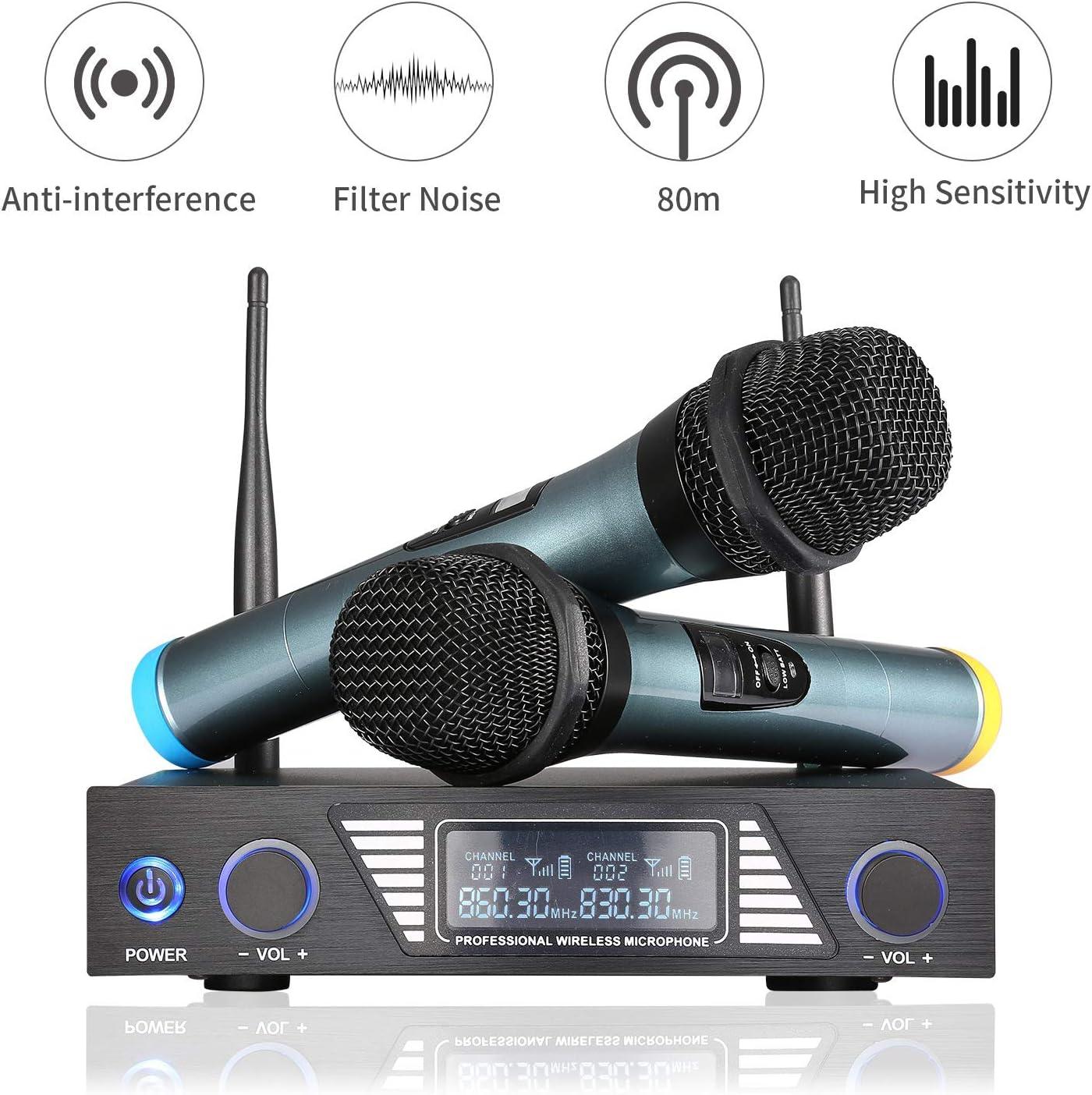 Micrófono Inalámbrico Profesional, Sistema de Micrófono Inalámbrico de Mano UHF para Reuniones, Bodas, Clases, Fiesta, EXJOY Micrófono Dinámico de Karaoke Portátil con Pantalla LED