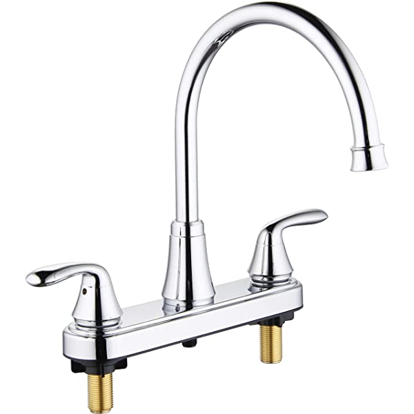 Aquenture Pf6007 Ch Ws 8 Two Handle Kitchen Faucet With Easy Install Quicknut And Side Sprayer Morganite Chrome Amazon Com