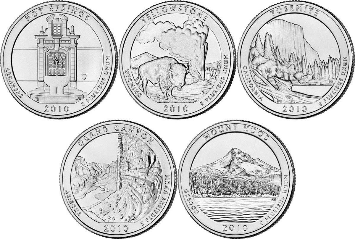 2010 D 25c National Park Quarter 5 Coin Set Uncirculated Mint State