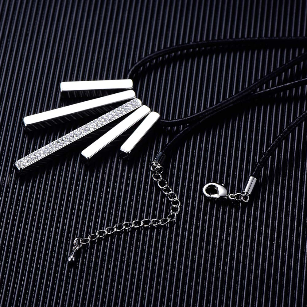 Fashion CZ Crystal Cord Jewelry PJ Square Bar Necklace for Women Girls 16 Long Chain Simple Steel Collar Pendant Necklaces Extender Zinc Alloy