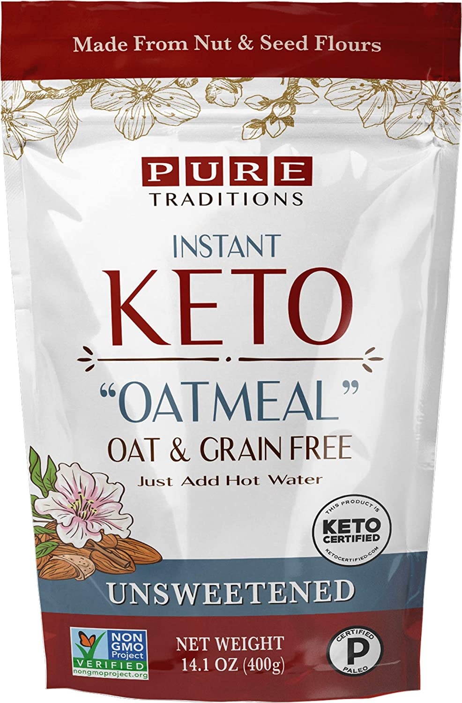 Keto Oatmeal, Instant Hot Cereal, Unsweetened, Certified Paleo, Keto Certified, Gluten & Grain Free (14.1 oz)