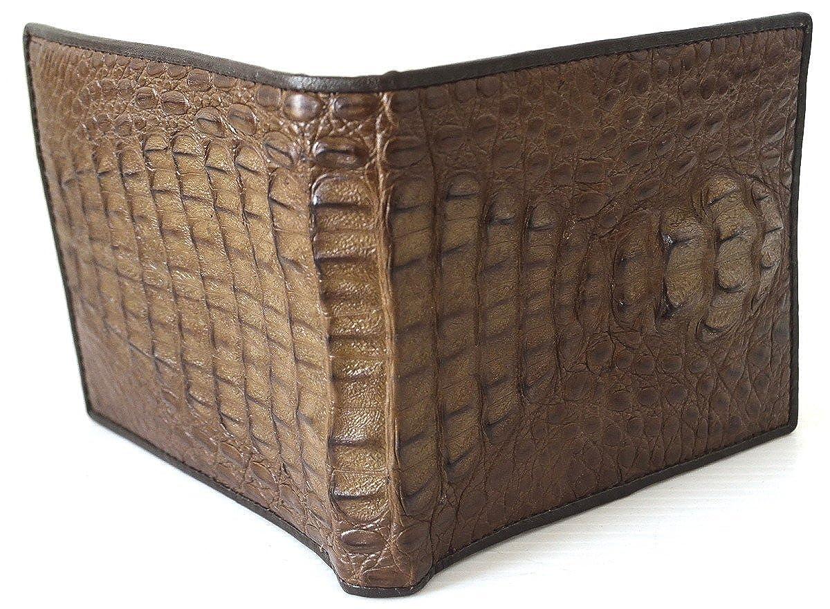 Authentic M Crocodile Skin Mens Bifold Head Leather Dark Brown Wallet