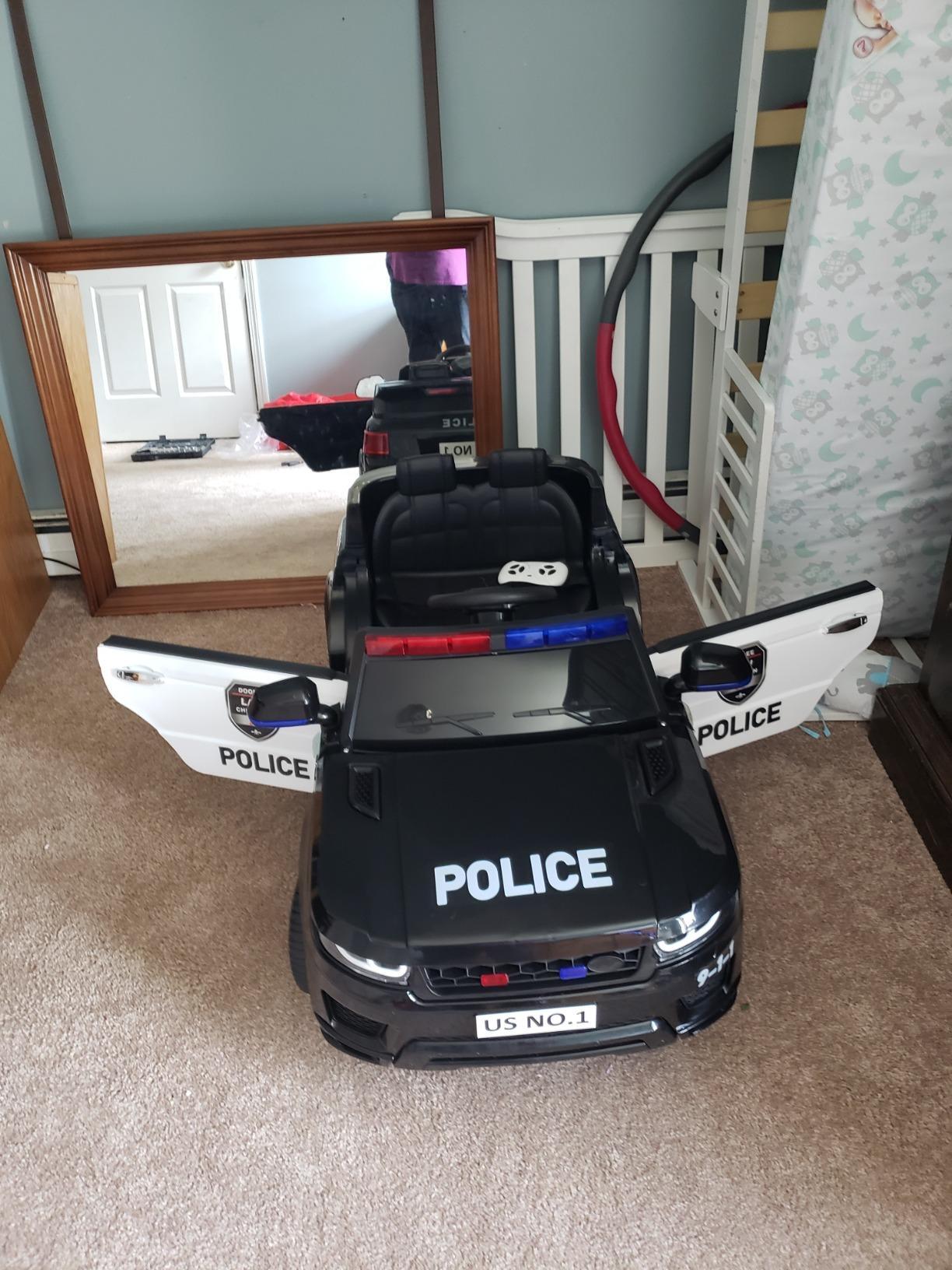12V Kids Ride On Police Car, Black photo review