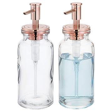 mDesign Juego de 2 dispensadores de jabón recargables – Dosificadores de cristal con cabezal de plástico
