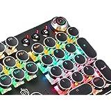 TDOR Teclado mecânico para jogos Steampunk retrô, painel de metal, interruptores pretos, retroiluminação LED, USB com fio, de