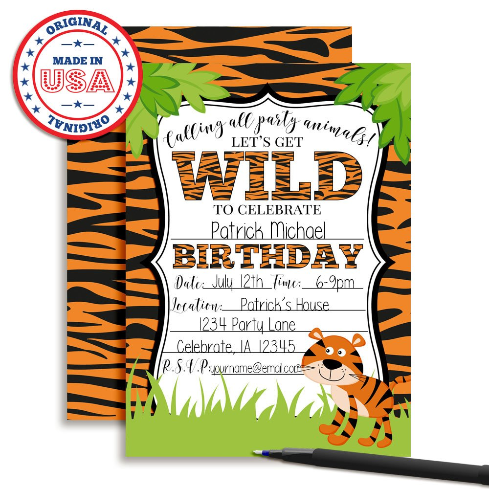 Amazon Com Tiger Birthday Party Invitations For A Wild Time 20 5