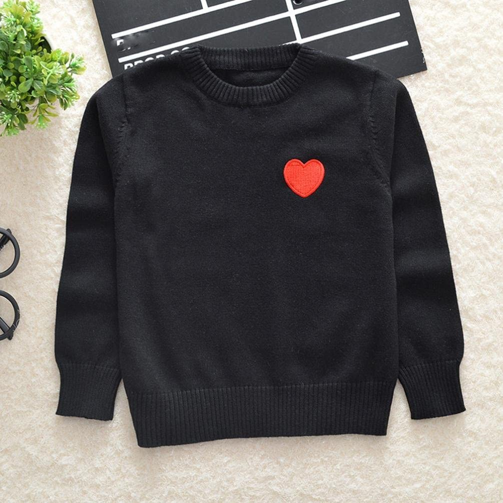 sunbona Toddler Baby Girls Knitted Heart Print Sweater Autumn Winter Pullover Jumper Sweater Coat Blouse Tops