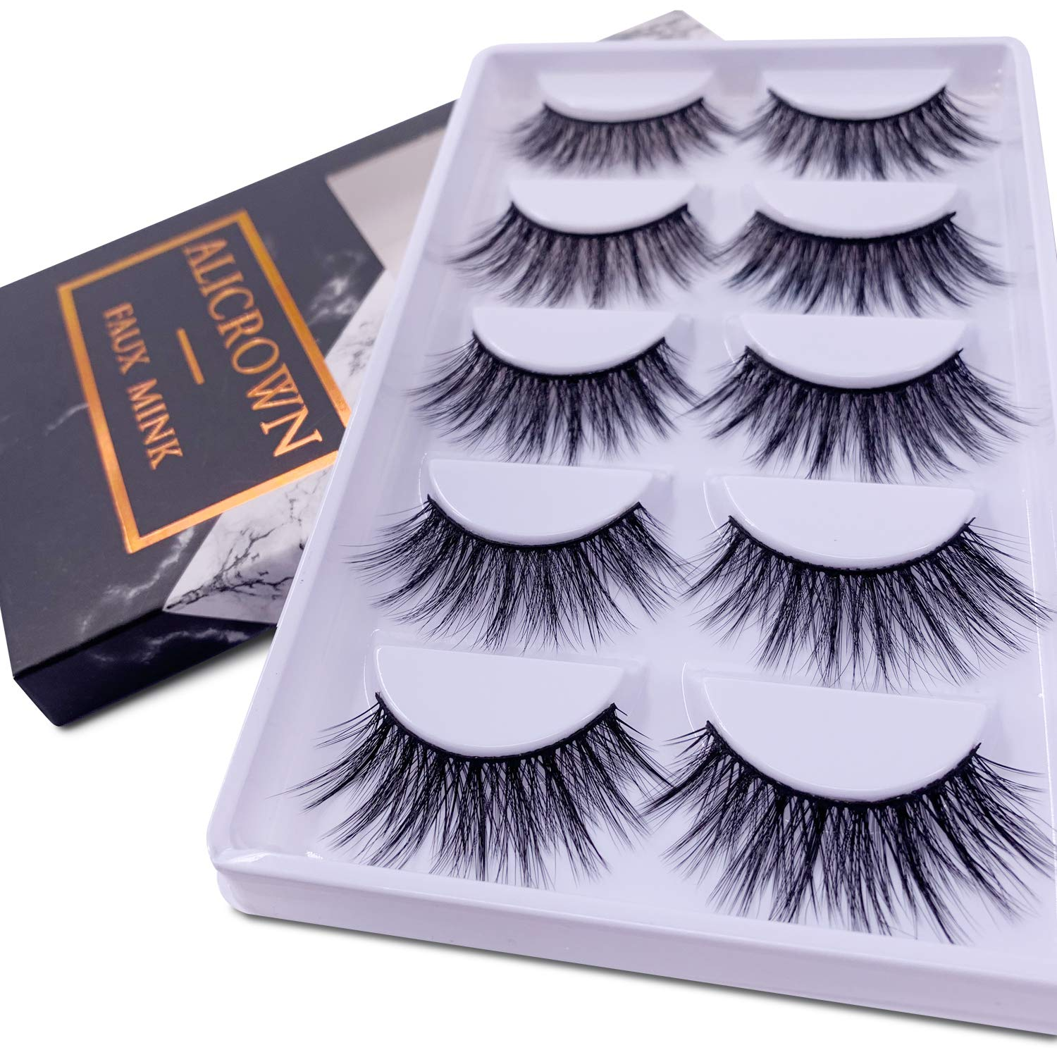 d5958696d97 Amazon.com : ALICROWN 3D Eyelashes Pack False Eyelashes Mink Fur Hand-Made  Dramatic Thick Crisscross Deluxe Nature Fluffy Long Soft Reusable : Beauty
