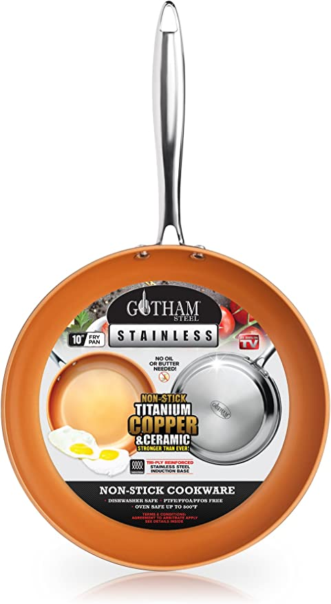 Amazon Com Gotham Steel Stainless Steel Premium 10 Frying Pan Triple Ply Reinforced With Super Nonstick Ti Cerama Copper Coating And Induction Capable Encapsulated Bottom Dishwasher Safe Kitchen Dining