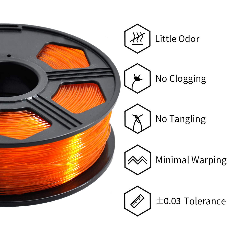 1kg Blue Spool Dimensional Accuracy +//- 0.03 mm,100/% Europe Raw Material YOYI 3D Printer Filament,PETG Filament 1.75mm 2.2lbs