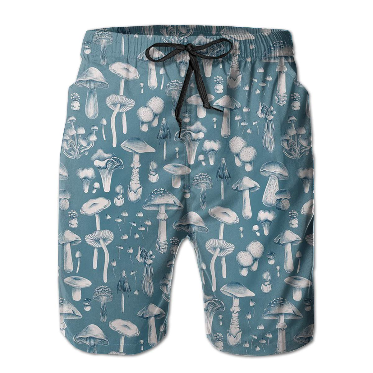 FUNSTYEET Blue Mushrooms Mens Board Shorts Swim Mesh Lining and Side Pocket