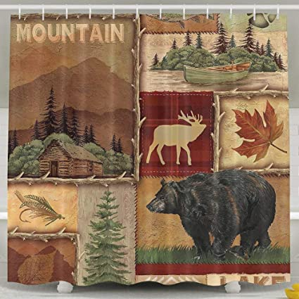 Niomhdos 60 X 72 Inch Shower CurtainRustic Lodge Bear Moose Deer Polyester Waterproof Bath