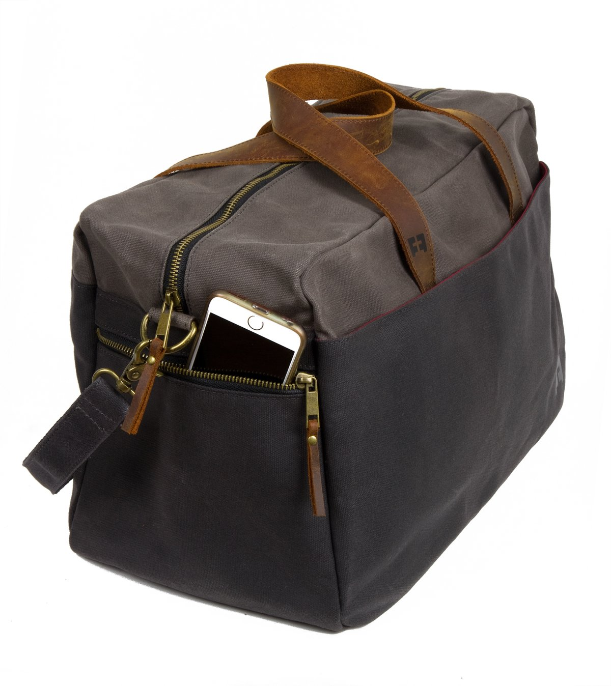 Waxed Cotton Canvas Duffel Bag with Leather Handles | the Whitman Weekender Duffel by FAT FELT by FAT FELT (Image #8)