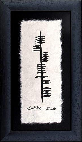 Irish Blessings Wall Decor Art Gaelic Slainte Health Ogham Wishes Handmade Black Frame Made