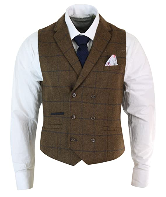 Peaky Blinders & Boardwalk Empire: Men's 1920s Gangster Clothing Mens Double Breasted Herringbone Tweed Peaky Blinders Vintage Check Waistcoat £51.99 AT vintagedancer.com