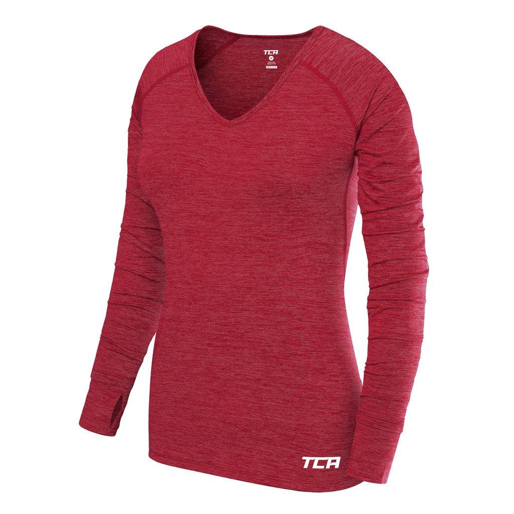 TCA Womens Elle Long Sleeve V Neck Jogging T-Shirt
