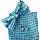 Men's Checked Pre-gebunden Bowtie Pocket Square Manschettenknopf Plain Jacquard Woven Classic Geschenkbox ciciTree