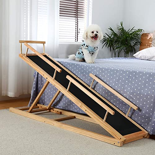HOMOOK-Small-Dogs-Bed-Ramp(Clear-Natural)