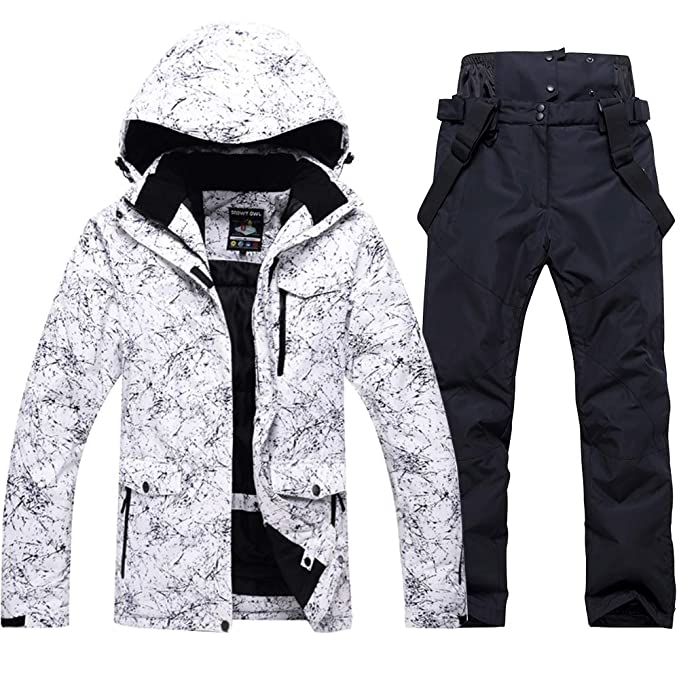 Fashion Womens High Waterproof Windproof Snowboard Colorful Printed Ski Jacket and Pants