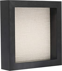 Shadow Box Frame Wood Display Case for Awards Medals Photos - Ready to Hang - Memory Box (8x8, Black)